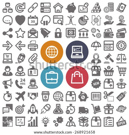 Set of flat icons about web, finances, business and shopping - stock vector