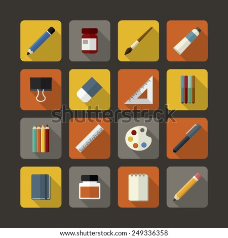 Set of flat icons design for stationery, art supplies, art tools for painting, drawing, sketching with long shadow. - stock vector