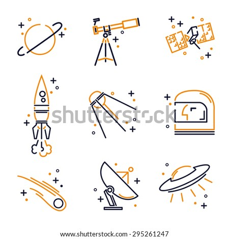 Set of flat icons for astronomy, space, universe