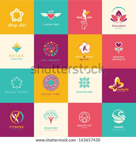 Set of flat icons for beauty, healthcare, wellness and fashion     - stock vector