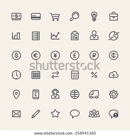 Set of Flat Icons for Business Design. Isolated on White Background. Clipping paths included in additional jpg format. - stock vector