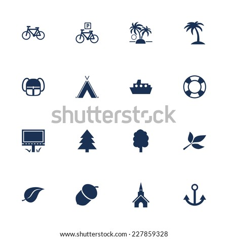 Set of flat icons for leisure, tourism and travelling - stock vector