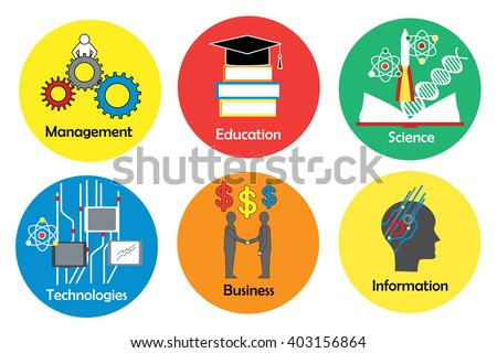 Set of flat icons for management, education, science, technologies, business, and information.  - stock vector