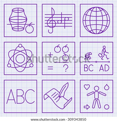 set of flat icons for primary school subjects written on squared paper with ink - stock vector