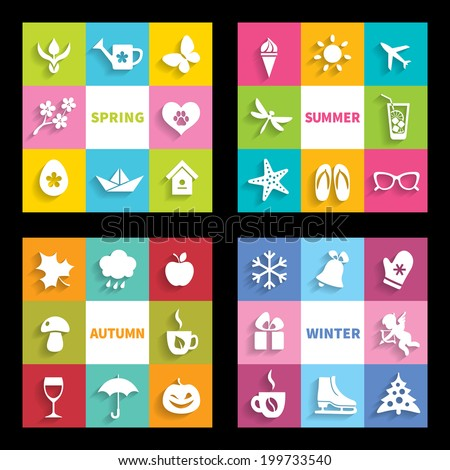 Set of 32 flat icons four seasons - stock vector