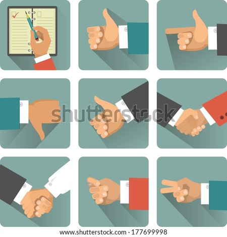 Set of flat icons is hand gestures show various symbols are the Accessible colors of RGB- The Good choice for the use in info graphics and interface  - stock vector