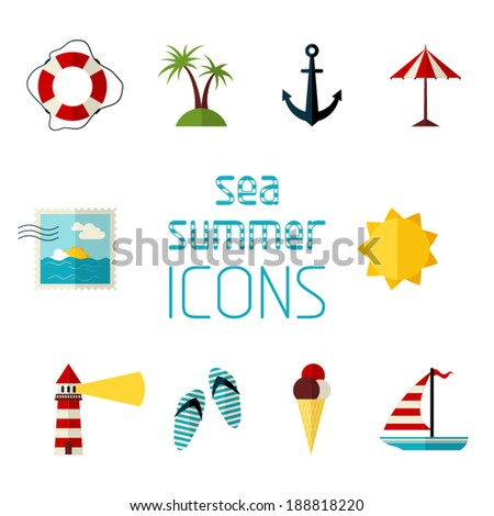 Set of 10 flat icons isolated on white background. Sea summer icons for your design. - stock vector