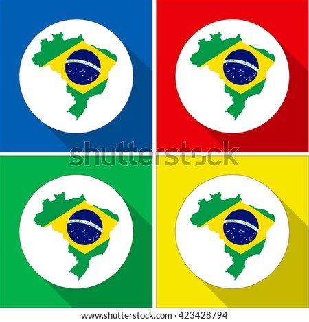 Set of flat icons of Brazil map silhouettes with flag - stock vector