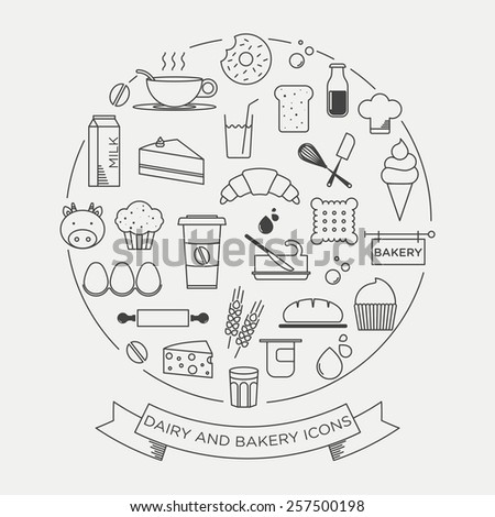 Set of flat icons of dairy and bakery products and ingredients