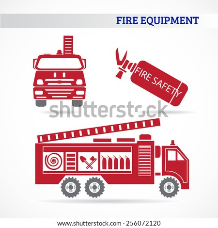 Set of flat icons of fire safety equipment with shadow. Vector illustration - stock vector