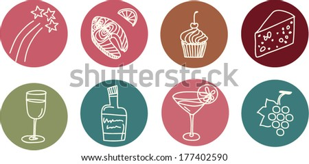Set of flat icons of wine, cheese,grape, glasses,bottles,stars, for your party design