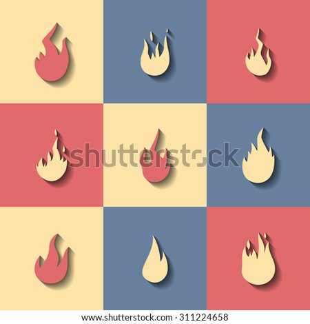 Set of flat icons on a theme fire - stock vector