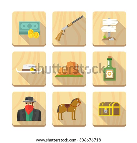 Set of flat icons on the theme of life in the old West. Cowboys. Life in the wild West. The Development Of America. Part two. - stock vector
