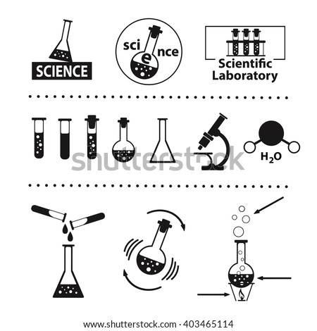 Set of flat icons on the theme of science. Vector illustration on white background. Flat style