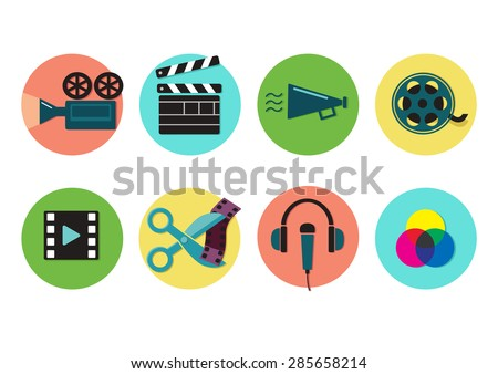 Set of flat icons on video production and post production,  movie shooting, visual effects. Vector illustration - stock vector