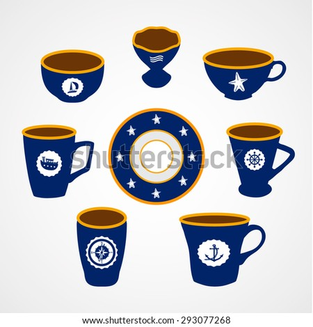 Set of flat icons saucer, mugs and cups with sea symbols on the white background. Vector illustration for web design.