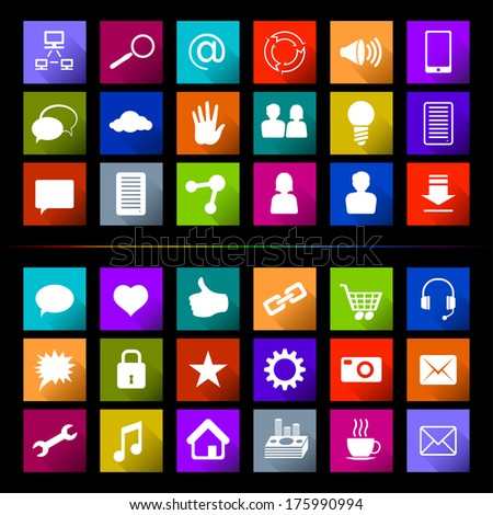 Set of flat icons, signs and buttons in Win8-style on a subject Social Media; Eps8 - stock vector
