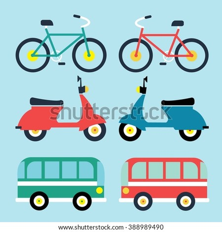 Set of flat icons, types of public transport for use in info graphics and interface, illustration vector. Travelling concept
