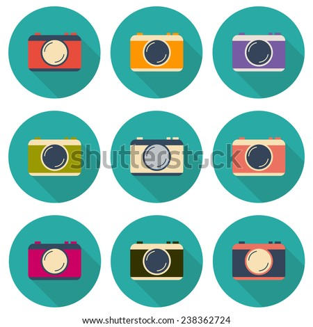 Set of flat icons with cameras for your design - stock vector