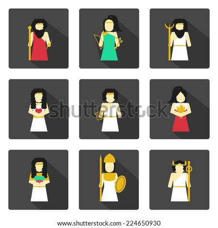 Set of flat icons with greek gods - stock vector