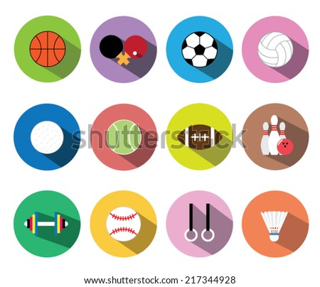 Set of flat icons with long shadow vector illustration eps10 : Sports equipment.