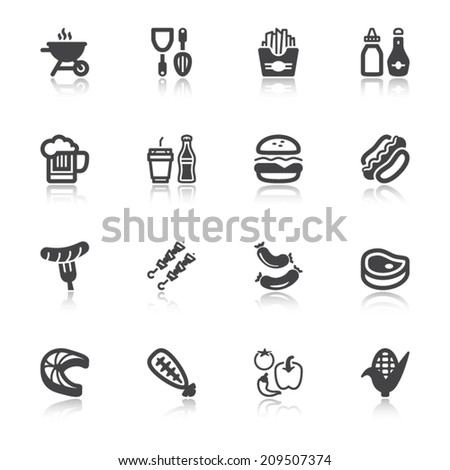 Set of flat icons with reflection about barbecue. - stock vector