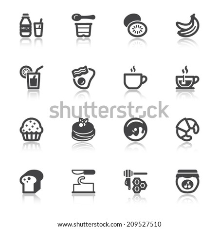 Set of flat icons with reflection about breakfast. - stock vector