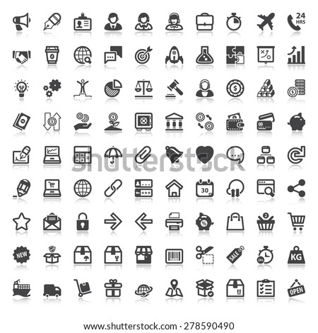 Set of flat icons  with reflection  about web, finances, business and shopping - stock vector