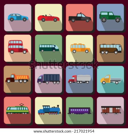Set of flat icons with vehicles of different types - stock vector