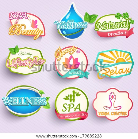 Set of flat labels for beauty, spa and fashion - stock vector