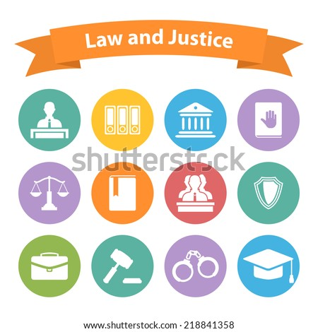 Set of flat law and justice icons with a Judge briefcase book hammer jurors handcuffs scales hat lawyer court building icon police oath - stock vector
