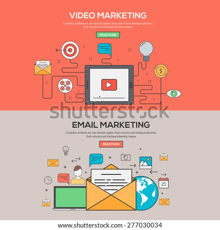 Set of Flat Line Banners Design Concept for Video Marketing and Email Marketing. Concepts web banner and printed materials.Vector - stock vector