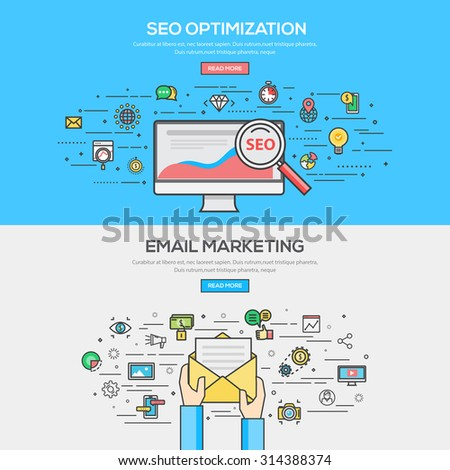 Set of Flat Line Color Banner Design Concept for SEO Optimization and Email Marketing. Vector - stock vector