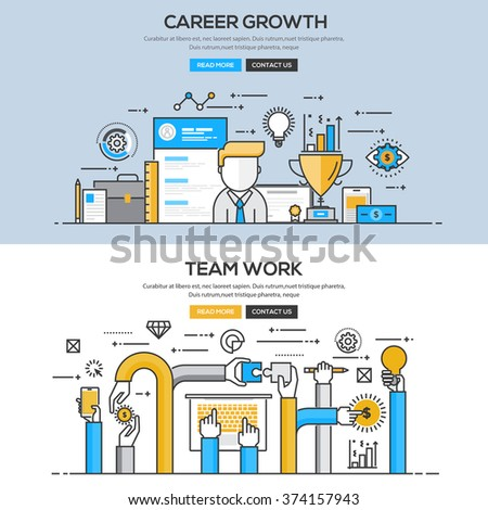 Set of Flat Line Color Banners Design Concepts for Career Growth and Team Work. Vector