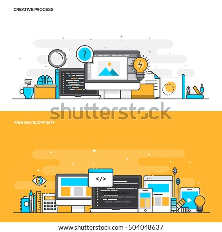 Set of Flat Line Color Banners Design Concepts for Creative Process and Web Development. Concepts web banner and printed materials. Vector Illustration