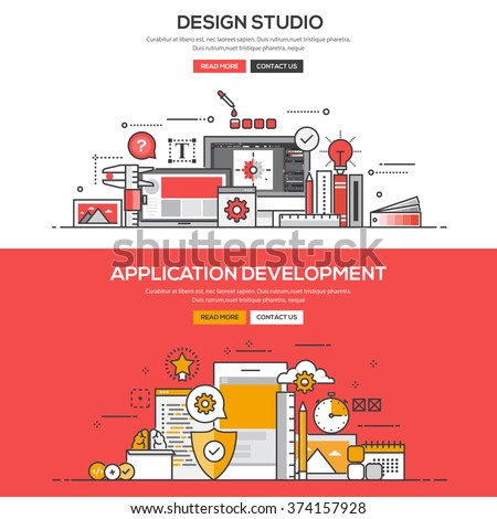 Set of Flat Line Color Banners Design Concepts for Design Studio and Application Development. Vector - stock vector