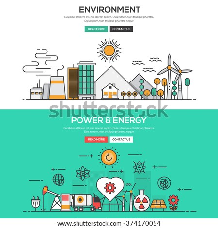 Set of Flat Line Color Banners Design Concepts for Environment and Power and Energy. Vector - stock vector