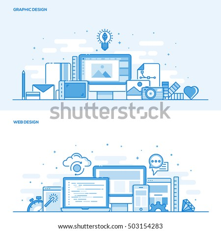 Set of Flat Line Color Banners Design Concepts for Graphic design and Web Design. Concepts web banner and printed materials. Vector Illustration