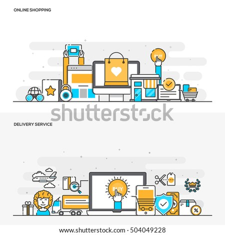 Set of Flat Line Color Banners Design Concepts for Online Shopping and Delivery Service. Concepts web banner and printed materials. Vector Illustration