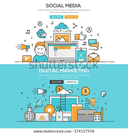 Set of Flat Line Color Banners Design Concepts for Social Media and Digital Marketing. Vector - stock vector