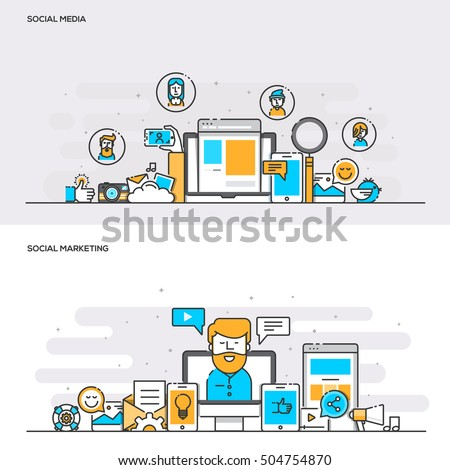 Set of Flat Line Color Banners Design Concepts for Social Media and Social Marketing. Concepts web banner and printed materials. Vector Illustration