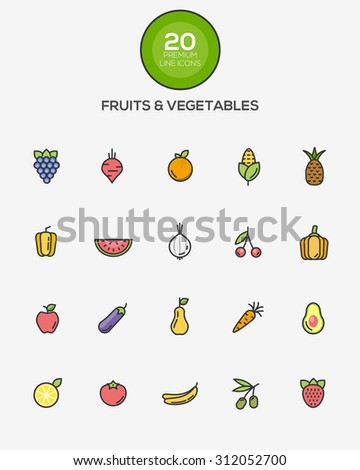 Set of Flat Line Color Fruits and Vegetables icons. Vector - stock vector