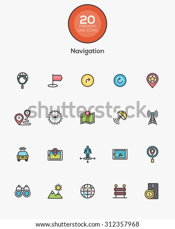 Set of Flat Line Color Navigation icons. Vector - stock vector