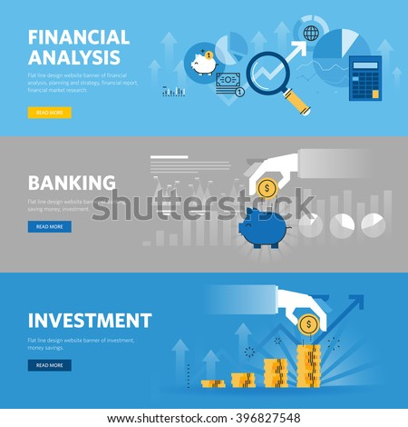 Set of flat line design web banners for banking and finance, investment, market research, financial analysis, savings. Vector illustration concepts for web design, marketing, and graphic design. - stock vector