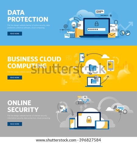 Set of flat line design web banners for data protection, internet security, antivirus software and services, business cloud computing. Vector illustration concepts for web and graphic design. - stock vector