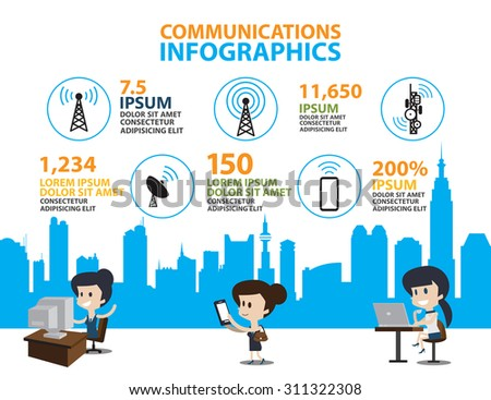 Set of Flat line icon & infographic design concept,communication in the global computer city - stock vector