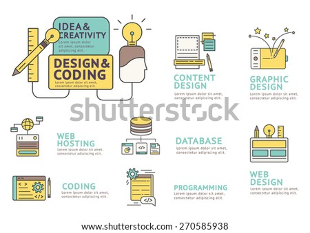 Set of Flat line icon & infographic design concept Design and Coding , Webdesign , programming , Web Hosting , Content Design , Graphic Design / Infographic Element / icon / Symbol , Vector Design - stock vector