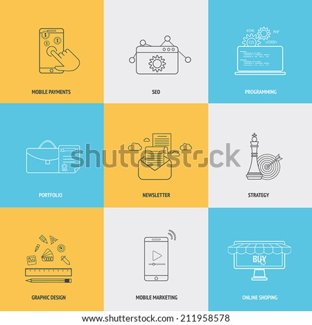 Set of flat line icons concepts of mobile payments,seo, programming, portfolio, newsletter, strategy,mobile marketing, and online shopping . Design elements for web and mobile applications. Vector - stock vector