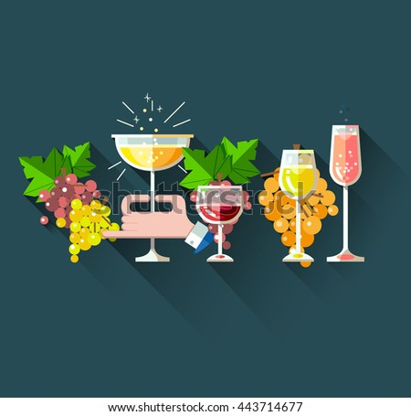 Set of flat line modern alcohol wine icons for restaurant and food menu. Bottles and glasses of red wine, white blanco wine, rose wine, sparkling wine and champagne with bunch of grapes