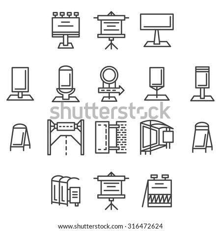 Set of flat line vector icons for outdoor advertising elements. Signboards, billboard, lightbox, road sign, banners and other objects for business or website - stock vector